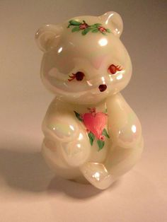 """Really Cute  Vintage Hand Painted  Fenton Pearlized  White Iridescent  Bear 5151. The Fenton Critter is  3 3/4"""" Tall  and is Artist Signed. by VintageQualityFinds on Etsy"""