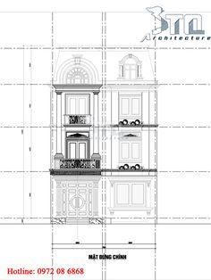 Mặt đứng chính: Mẫu nhà phố 3 tầng 2 mặt tiền 136m2 ở Lào Cai