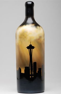 Quilceda Creek Seattle Skyline gold leafed, etched and hand painted wine bottle Painted Wine Bottles, Glass Bottles, Wine Glass, Party Platters, Bottle Painting, Hand Painted, Diy Crafts, Unique, Artwork