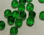 25 Green Dark - Forest Faceted Loose 4mm Glass Rondelle Beads - Green Spacer Beads - Sparkle and Shine - Loose Bead Lot