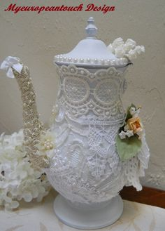 "FREE US SHIPPING A different kind of Shabby Chic Altered Lace Teapot Center Piece, I transformed a tarnished teapot called ""Veronika"" into this fanbulous Shabby Chic Center Piece. I never gve up on injured pieces, this lovely center piece Teapot is missing the handle. But how it still can work fabulously as a treasured piece …"