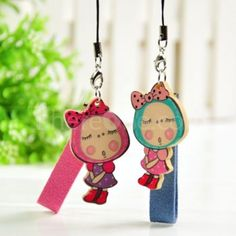 Wooden bow girl couple phone pendant