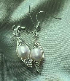 Herringbone Freshwater Pearls Earrings by deans on Etsy, $8.00