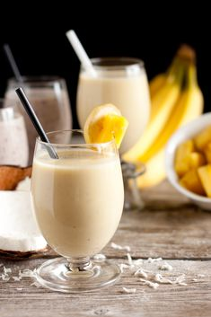 Pina Colada Smoothie  Ingredients:  1 cup Almond Milk Plus Protein, divided  1/4 cup quick oats  1 (5.3) oz Vanilla or Strawberry Nonfat Greek Yogurt  1/2 overripe banana, chilled  1/2 cup diced fresh pineapple, chilled  1/4 tsp coconut extract  5-6 ice cubes