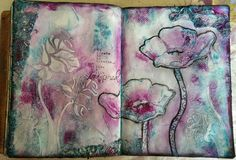 Art Journal - gesso, Prima 3D gloss gel, Prima stencil, texture paste, Donna Downey stencil, acrylic paints, gelatos, beaded lace offcuts, Tim Holtz distress ink