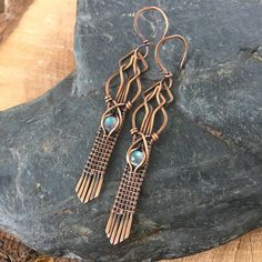 cabochons set in handwoven antiqued copper wire and hang from antiqued copper hooks. These earrings measure just under 3 inches long including the earwires. Your jewelry will arrive in a gift box secured in a bubble envelope* Domestic orders under $50 will be sent USPS first class mail with tracking. All orders over $50 will be sent USPS fi...