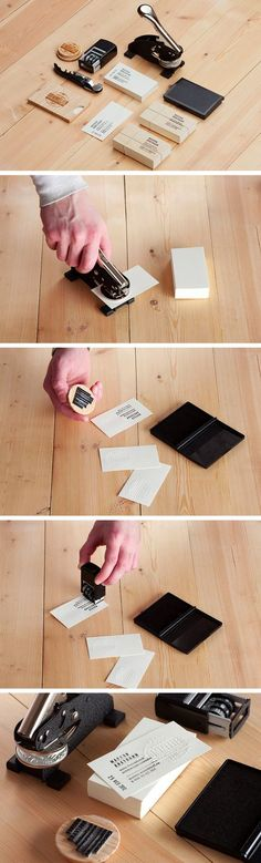 The Top 15 DIY Business Cards - Design Ideas || Sommelier's DIY business cards made using 2 stamps and a hand embosser