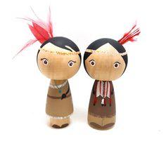Wooden Peg Doll Kokeshi Native American Couple by abbyjac on Etsy