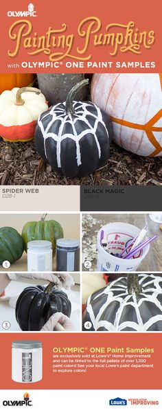 DIY Pumpkin Decorating: Painting a Pumpkin DIY Craft! Create a spiderweb themed pumpkin with paint samples!