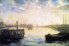"""""""Gloucester Harbor"""", William Morris Hunt, 1877, oil on canvas, 21 x 31.25"""", Museum of Fine Arts, Boston."""