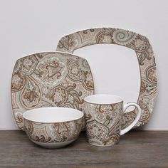 @Overstock.com - Waverly Paddcok Shawl Paisley 16-piece Dinnerware Set - Replace your plain, ordinary dishes with this 16-piece earthenware dinnerware set. The dishwasher-safe set includes the basics you need to serve a party of four, and the paisley-shawl pattern is an elegant addition to your table setting.  http://www.overstock.com/Home-Garden/Waverly-Paddcok-Shawl-Paisley-16-piece-Dinnerware-Set/7458869/product.html?CID=214117 $65.99