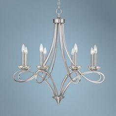 "Georgeville 32"" Wide Brushed Nickel Chandelier -  http://www.lampsplus.com/products/georgeville-32-inch-wide-brushed-nickel-chandelier__4p264.html $300"