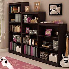 30.75-inch x 58-inch x 11.5-inch 4-Shelf Manufactured Wood Bookcase in Brown