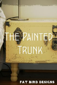 furniture do over The Painted Trunk by Fat Bird- Jakes trunk looks just like this but green Buy Dc K Painted Trunk, Painted Furniture, Diy Furniture, Distressed Furniture, Old Trunks, Trunks And Chests, Gift Shop Displays, Fat Bird, Diy Light Fixtures