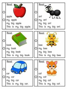 Building sentences and fluency practice First Grade Reading Comprehension, Phonics Reading, Reading Comprehension Worksheets, Kids Reading, Teaching Reading, Beginning Reading, Learning English For Kids, English Worksheets For Kids, English Lessons For Kids