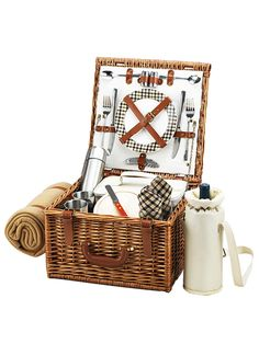 Gifts and Accents for the Outdoors: Picnic at Ascot: Cheshire Basket for Two with Coffee Set & Blanket in London Plaid