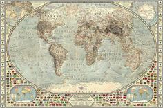 The unique map shows the world as it would have looked years ago, when the ice age was at its harshest. The map was created by Martin Vargic, an amateur graphic designer from Slovakia. Unique Maps, What The World, Ice Age, A 17, Vintage World Maps, The Incredibles, Art Prints, Artwork, Climate Change