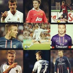 The Amazing David Beckham and most of his clubs! (I loved it when he played for Manchester Utd!!)