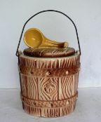 American Bisque Oaken Bucket Cookie Jar