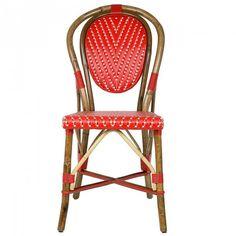 Red & White Mediterranean Bistro Chair (L)