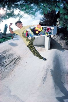 Mark Gonzales photographed by J. Grant Brittain at Gremco Banks in Oceanside, 1985. Those pants!