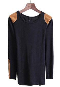 SHE INSIDE black long-sleeve shoulder patch t shirt - $26