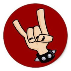 Heavy metal, rock and roll, devil horns hand sign with a black leather studded bracelet. Heavy Metal, Rock And Roll, Metal Horns, Hand Pose, White Elephant Gifts, Round Stickers, Pose Reference, Metal Bands, Sticker Design