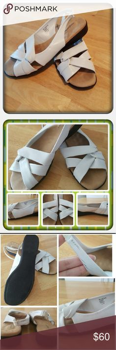 White Woman's Sling Back Sandals Sz 10M Woman's White Sling Back Sandals Sz 10M By Woman Within Brand Is Comfortview. These Super Cute And Comfy Sandals Are In Great Condition Worn Very Little Damage Shown In Above Pictures Where There's Some Black Rub Marks On The White Should Come Off If Cleaned Memory Foam Footbeds For Extra Comfort 🚫 PAYPAL 🚫 TRADES 🚫 OFFERS PRICE IS FIRM ❤ Woman Within Shoes Sandals