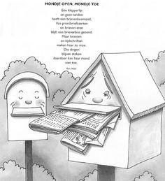 versje over de brievenbusmond Office Themes, School Themes, Preschool Lessons, Post Office, Letters, Kids, Crafts, Classroom, Paper