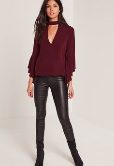 Missguided - Choker Neck Flare Sleeve Blouse Burgundy