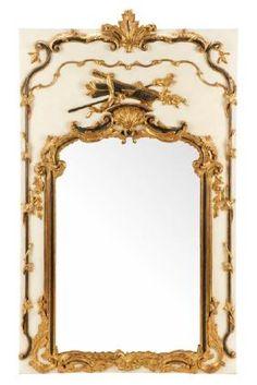 French Louis XVI Style Giltwood Trumeau Mirror