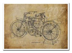 HARLEY DAVIDSON 1905 Based on my Original Handmade by drawspots, $42.00