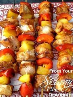 Chicken Shish Kabobs 1 Large Chicken Breast Fresh Pineapple or Frozen 1 Red Pepper. Teriyaki Sauce/Marinade Salt & Pepper to Taste Cut Chicken, Pineapple and Red Pepper into chunks Mari (Chicken Kabobs Fire) Chicken Kabobs, Marinated Chicken, Summer Recipes, Great Recipes, Favorite Recipes, Interesting Recipes, Fresco, Shish Kabobs, Kebabs