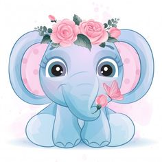 Cute Little Elephant With Watercolor Effect Baby Animal Drawings, Cute Drawings, Girl Drawings, Drawing Faces, Watercolor Flower Background, Floral Watercolor, Elephant Watercolor, Watercolor Illustration, Little Elephant