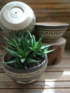 I throw these vase on the wheel, then colored it with black slip, carved Accuracy by hand and fired at a temperature of 1200 º C to ensure its durability.  My inspiration for this vase came from the native america calture which I adore :)  Each vase get full Investment and get this unique look.  ►listing is for 1 planter(choose your favorite) ►Contains small hole in the bottom for drainage ►you will get the planter without the succulent :)  Vase measures (cm) A6.8cm high/14 cm opening ...