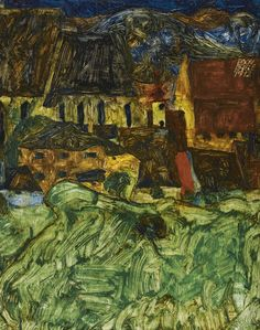 'Wiese, Kirche und Häuser' (Meadow, Church and Houses) by Egon Schiele, 1912