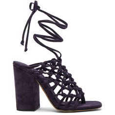ALUMNAE Knotted Suede Wrap Block Heels (€615) ❤ liked on Polyvore featuring shoes, pumps, high heel shoes, wrap around shoes, high heeled footwear, high heel pumps and block heel court shoes