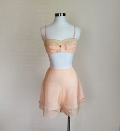 1920s / 1930s Lingerie  Pink Bralette and Tap by GuermantesVintage, $100.00