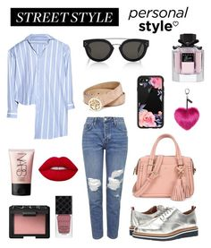 """Street Style with Red Lips💋"" by stylebyceylin ❤ liked on Polyvore featuring Tommy Hilfiger, Topshop, Vetements, Lime Crime, Gucci, CÉLINE, Kate Spade, NARS Cosmetics, Casetify and GUESS"