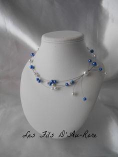 """Collier mariage """"LOUISE"""" bleu roi & blanche : Collier par les-fils-daurore"""