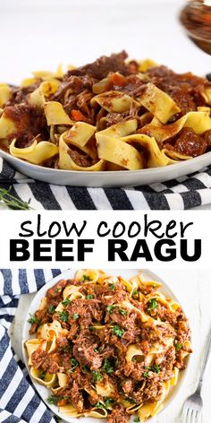Set your crock pot and come home to an authentic Italian dinner of slow cooker beef ragu. This easy, healthy recipe is braised, cooked on low and falls apart to make a rich, protein-filled sauce you c Lasagne Bolognese, Slow Cooker Beef, Slow Cooker Meals Healthy, Slow Cooker Recipes Uk, Crock Pot Healthy, Easy Healthy Crockpot Recipes, Easy Crock Pot Meals, Slow Cooker Dinners, Easy Home Recipes