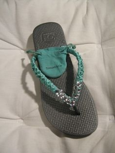 Tiffany Inspired Bridesmaid Flip Flops for by DirtyBakersDozen, $36.00