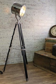 Caged Search tripod floor lamp has a robust yet industrial classic look - Fat Shack Vintage - Fat Shack Vintage