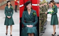 Kate presents shamrocks to Irish soldiers.  Her gold brooch was formerly worn by the Queen Mother.