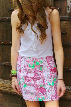 Flamingo skirt with ruffled top!
