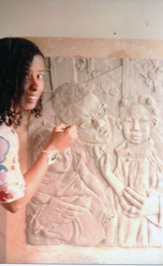 Malcolm ©1994 by Vinnie Bagwell | Clay bas-relief in progress | Roderick V Taylor, photographer