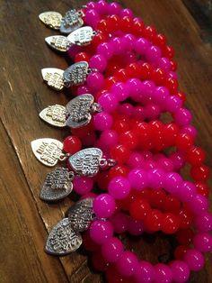 Red beads bracelets made by  Mari Rodriguez from LC.Pandahall.com  #pandahall