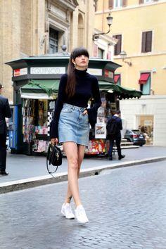 Paz Halabi Rodriguez - Zara Hop Earrings, H&M Bell Sleeves Ribbed Top, Zara Denim Mini Skirt, Reebok White Classic, Zara Ring Black Bag - Bell Sleeves Denim in Rome Basic Outfits, Mom Outfits, Fall Outfits, Summer Outfits, Fashion Outfits, White Reebok, Classic Skirts, Urban Dresses, Denim Outfit