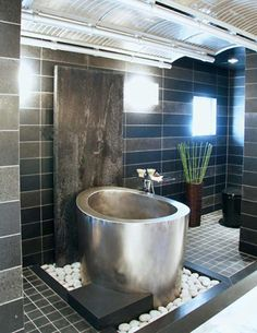 Love this Japanese Stainless Soaking Tub and Wall Fountain