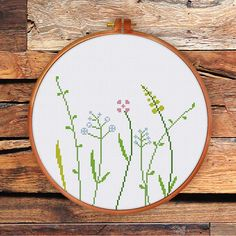 Wildflowers cross stitch pattern modern cross by ThuHaDesign